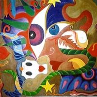 "lei e i suoi guai 1994 acrilici, pastelli, pigmenti indiani su tela cm 120x120 c.a. • <a style=""font-size:0.8em;"" href=""http://www.flickr.com/photos/32339813@N04/3113813436/"" target=""_blank"">View on Flickr</a>"